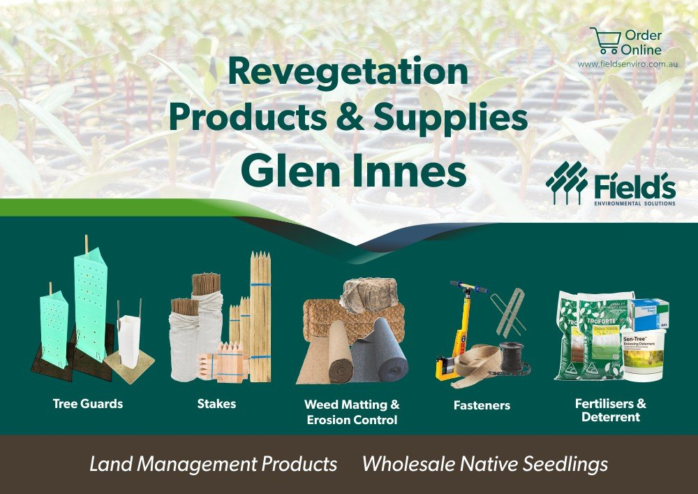 Fields Revegetation Products & Supplies Glen Innes - Tree Guards - Erosion Control - Coir Logs - Weed Mat - Hardwood Stakes