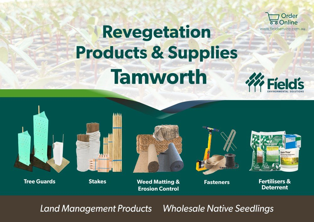 Fields Revegetation Products & Supplies Tamworth - Tree Guards - Erosion Control - Coir Logs - Weed Mat - Hardwood Stakes