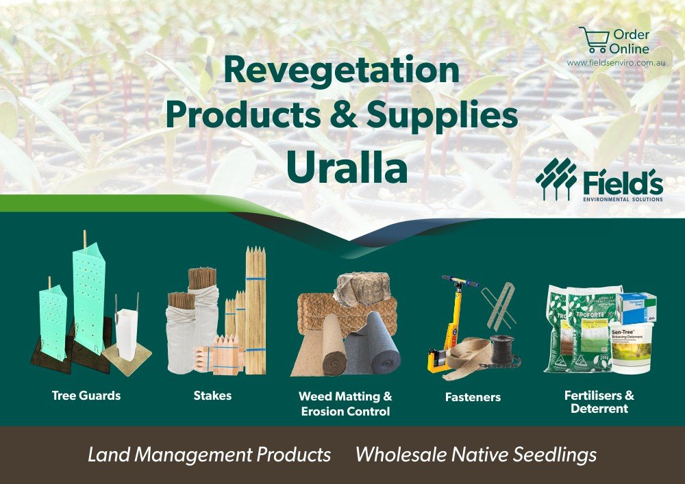 Fields Revegetation Products & Supplies Uralla - Tree Guards - Erosion Control - Coir Logs - Weed Matting - Hardwood Stakes