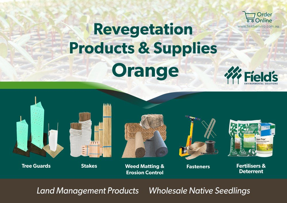 Fields Revegetation Products & Supplies Orange - Tree Guards - Erosion Control - Coir Logs - Weed Mat - Hardwood Stakes