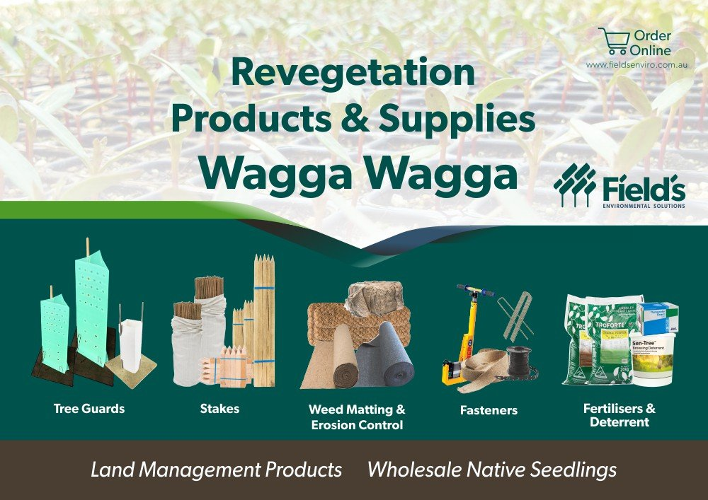 Fields Revegetation Products & Supplies Wagga Wagga - Tree Guards - Erosion Control - Coir Logs - Weed Mat - Hardwood Stakes