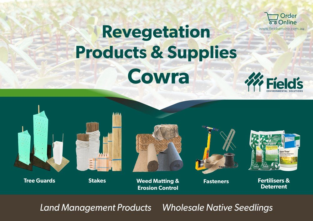 Fields Revegetation Products & Supplies Cowra - Tree Guards - Erosion Control - Coir Logs - Weed Mat - Hardwood Stakes